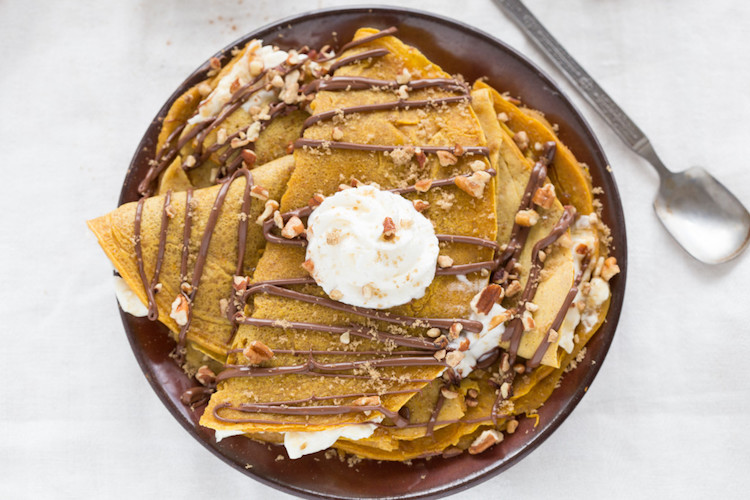 Nutella-Covered Pumpkin Crepes - Try this savory and sweet crepe recipe that can be both a breakfast and dessert. | Ideahacks.com