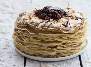 Toasted Coconut Cream Rum and Chocolate Mousse Crepe Cake