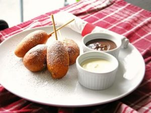 Biscoff Spread Filled Corn Dogs