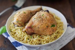 Herbed Parmesan Orzo with Garlic Baked Chicken - A quick and simple 30 minute recipe served up with rice. | Ideahacks.com