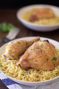 Herbed Parmesan Orzo With Garlic Baked Chicken