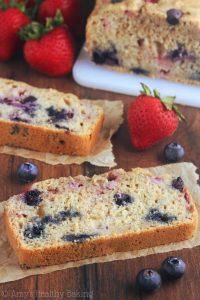 Whole Wheat Strawberry Blueberry Banana Bread