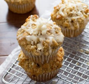 Glazed Maple Walnut Oatmeal Muffins