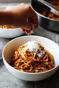 Healthier Chicken Bolognese With Linguini