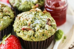Strawberry Oat Matcha Muffins