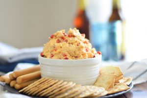 Pimento Cheese with Bacon - is paired with salty, savory bacon for a delicious appetizer perfect for your next happy hour or backyard gathering. | Ideahacks.com