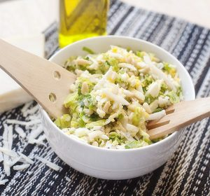 Caesar Brussels Sprouts Slaw