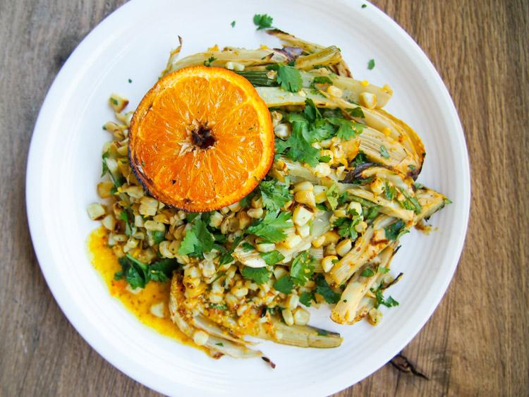 Grilled Corn, Fennel, and Orange Salad