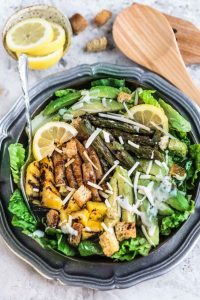 Grilled Pineapple Teriyaki Chicken Caesar Salad