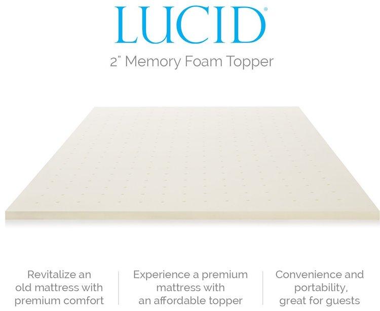 Lucid 2-Inch Ventilated Memory Foam Mattress Topper