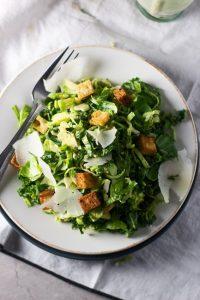 Skinny Kale & Brussels Sprout Caesar Salad