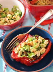Spicy Peanut Zucchini Noodle Stuffed Peppers