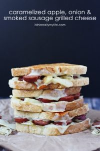 Caramelized Apple Onion Smoked Sausage Grilled Cheese