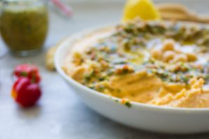 Sweet Potato Hummus With Moroccan Walnut Harissa