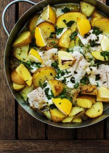 Cod Baked with Lemons & Potatoes