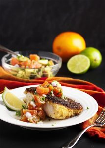 Oven Fried Cod with Orange Salsa