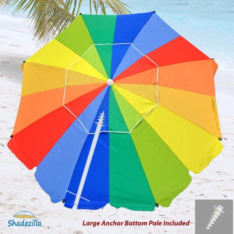 Shadezilla 8ft Premium Fiberglass Beach Umbrella