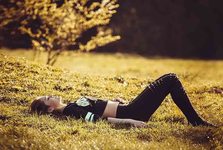 cute girl laying down