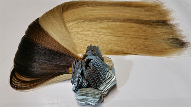 Tape Brown and black hair extension