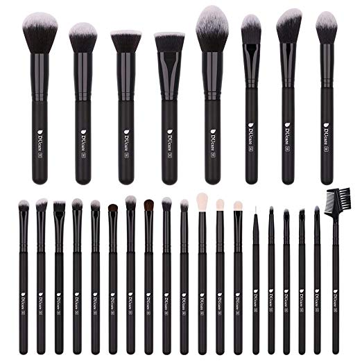 DUcare Makeup Brushes 27Pcs Professional Makeup Brush Set Premium Synthetic Goat Pony Hair Kabuki Foundation Blending Brush Face Powder Blush Concealers Eye Shadows