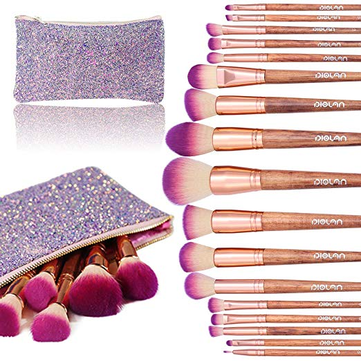 Makeup Brush Set, Diolan 17PCs Professional Makeup Brushes for Foundation Blending Blush Concealer Eye Shadow, Synthetic Fiber Bristles & Wooden Handle