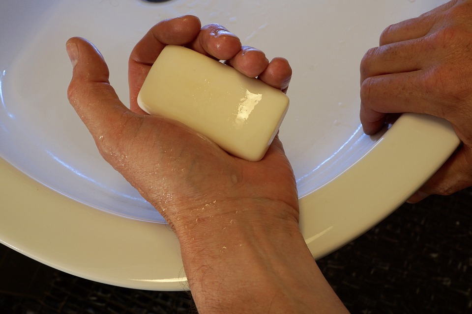 bar soap on person hand