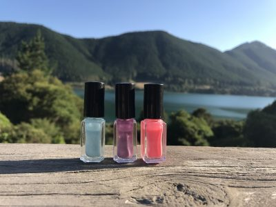 Different Variety of nail polish with a background of a mountain