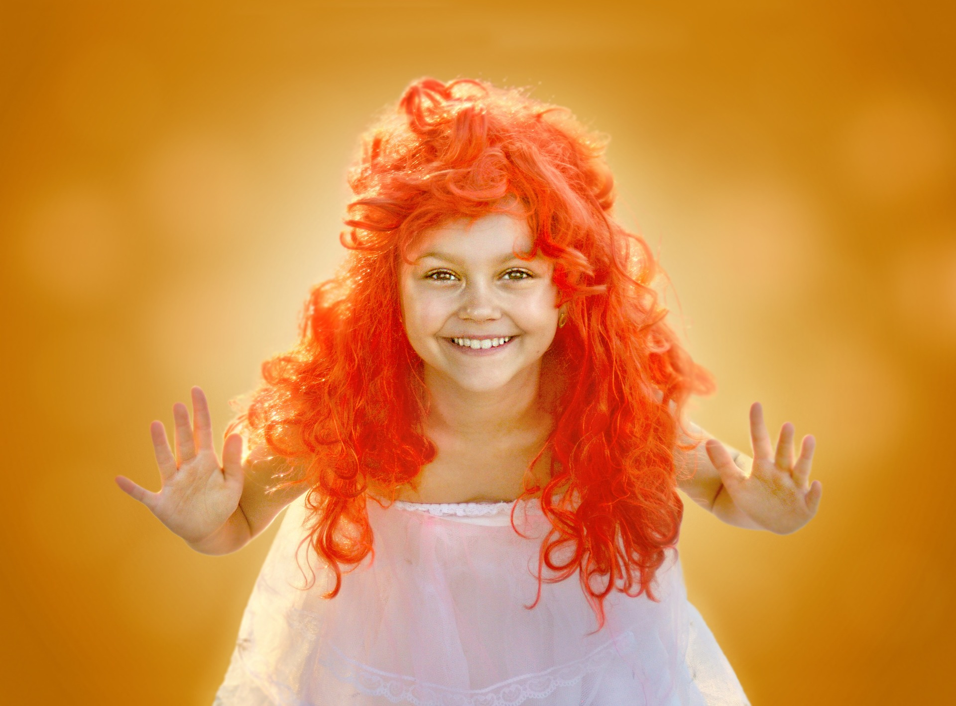Smiling Girl is Wearing a Wig with Orange Hair Color