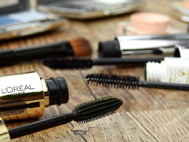 three different mascara and other make up
