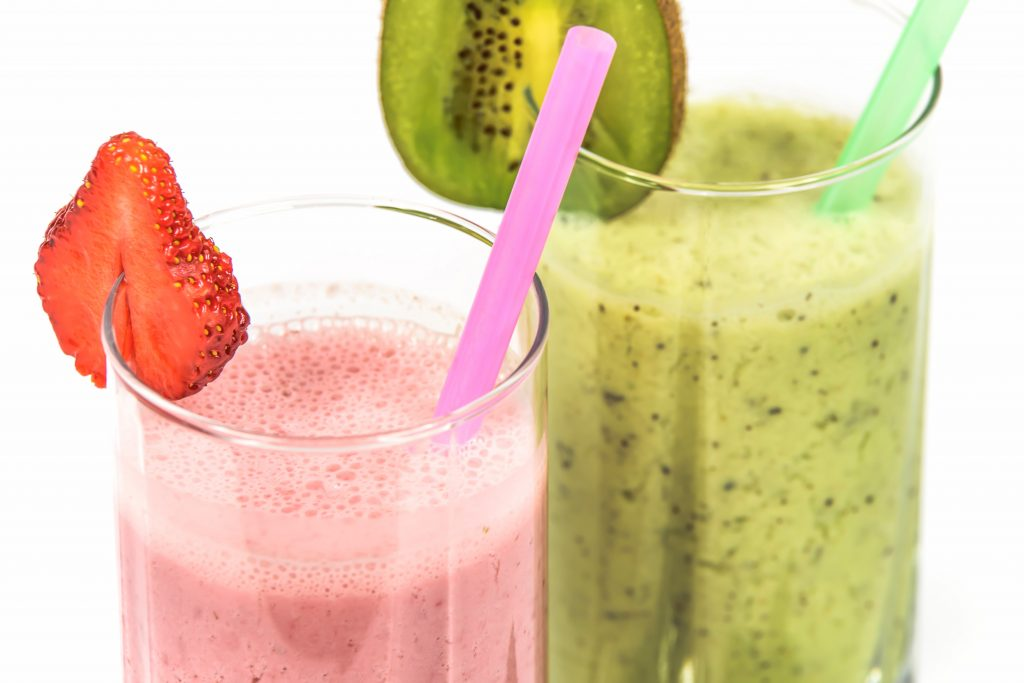 two glasses of fresh smoothies