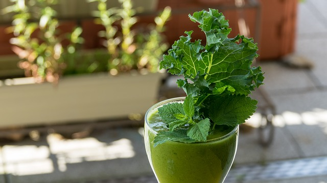 a glass of healthy green smoothie