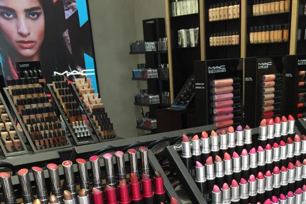 mac lipsticks on rack