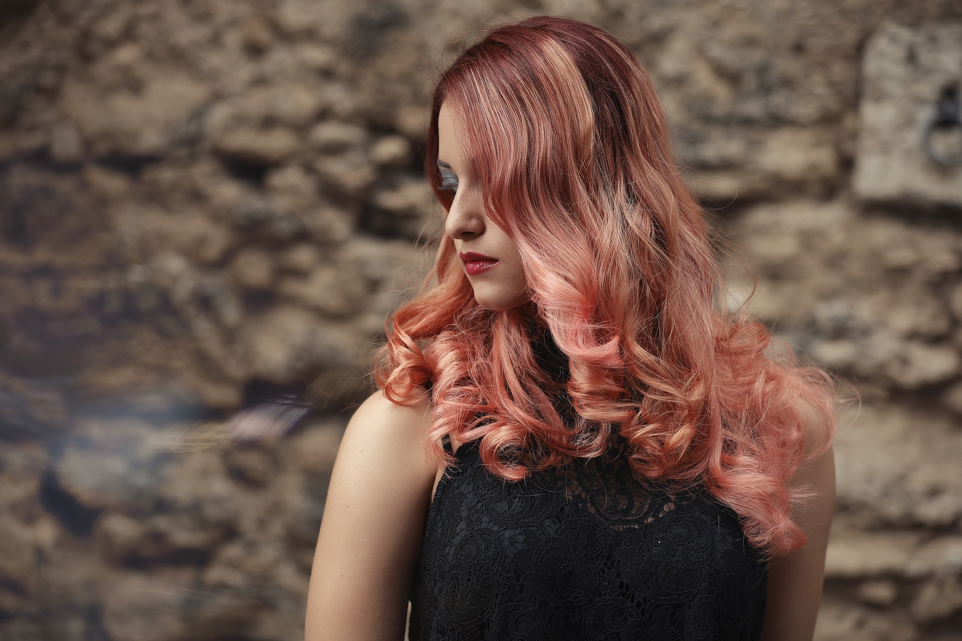 girl model with hair dye