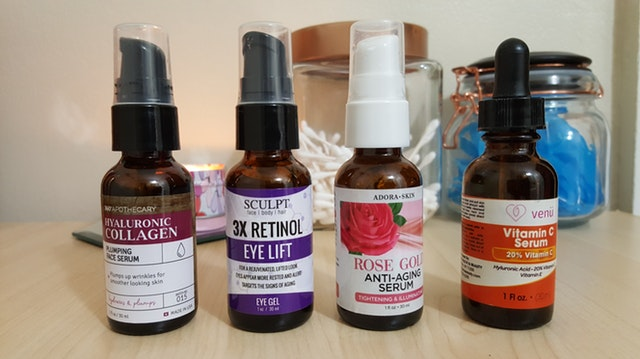 variety of serum in bottles