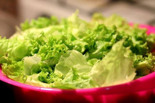 lettuce on a salad drainer
