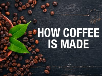 The words How Coffee Is Made with coffee beans