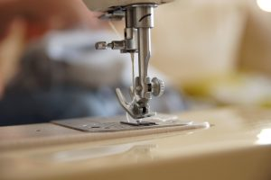 close up look on sewing machine