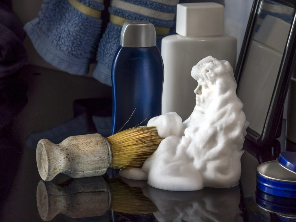SHaving supplies such as a brush, shaving foam and a styptic pencil